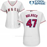 Camiseta Beisbol Mujer Los Angeles Angels 47 Ricky Nolasco Blanco Cool Base