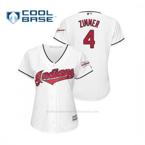 Camiseta Beisbol Mujer Cleveland Indians Bradley Zimmer 2019 All Star Game Patch Cool Base Blanco