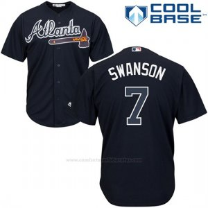 Camiseta Beisbol Hombre Atlanta Braves 3 Dansby Swanson Azul Cool Base