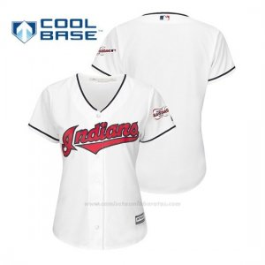 Camiseta Beisbol Mujer Cleveland Indians 2019 All Star Game Patch Cool Base 1ª Personalizada Blanco