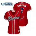 Camiseta Beisbol Mujer Atlanta Braves Dansby Swanson Cool Base Alternato Rojo