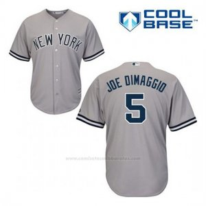 Camiseta Beisbol Hombre New York Yankees Joe Dimaggio 5 Gris Cool Base
