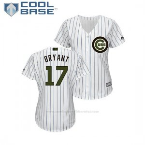 Camiseta Beisbol Mujer Chicago Cubs Kris Bryant 2018 Dia de los Caidos Cool Base Blanco