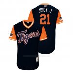 Camiseta Beisbol Hombre Detroit Tigers Jacoby Jones 2018 Llws Players Weekend Juicy J Azul