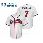Camiseta Beisbol Hombre Atlanta Braves Dansby Swanson Cool Base Majestic Home 2019 Blanco