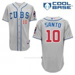 Camiseta Beisbol Hombre Chicago Cubs 10 Ron Santo Gris Alterno Cool Base
