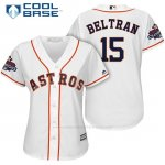 Camiseta Beisbol Mujer Houston Astros 2017 World Series Campeones Carlos Beltran Blanco Cool Base