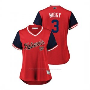 Camiseta Beisbol Mujer Washington Nationals Michael Taylor 2018 Llws Players Weekend Miggy Rojo