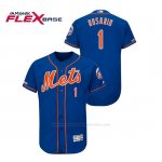 Camiseta Beisbol Hombre New York Mets Amed Rosario 150th Aniversario Patch Flex Base Azul