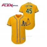 Camiseta Beisbol Hombre Oakland Athletics Jharel Cotton 150th Aniversario Patch Autentico Flex Base Oro