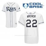 Camiseta Beisbol Hombre Tampa Bay Rays Chris Archer 22 Blanco 1ª Cool Base