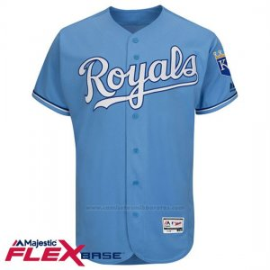 Camiseta Beisbol Hombre Kansas City Royals Blank Light Azul Flex Base Autentico Coleccion