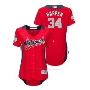 Camiseta Beisbol Mujer All Star Game Bryce Harper 2018 1ª Run Derby National League Rojo