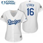 Camiseta Beisbol Mujer Los Angeles Dodgers 2017 World Series Andre Ethier Blanco Cool Base
