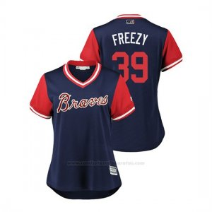 Camiseta Beisbol Mujer Atlanta Braves Sam Freeman 2018 Llws Players Weekend Freezy Azul