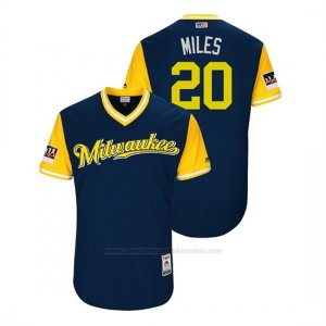 Camiseta Beisbol Hombre Milwaukee Brewers Wade Miley 2018 Llws Players Weekend Miles Azul
