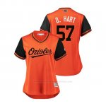 Camiseta Beisbol Mujer Baltimore Orioles Donnie Hart 2018 Llws Players Weekend D. Hart Orange