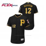 Camiseta Beisbol Hombre Pittsburgh Pirates Corey Dickerson 150th Aniversario Patch Autentico Flex Base Negro