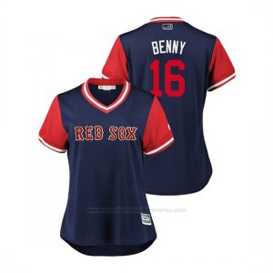 Camiseta Beisbol Mujer Boston Rojo Sox Andrew Benintendi 2018 Llws Players Weekend Benny Azul