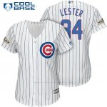 Camiseta Beisbol Mujer Chicago Cubs 2017 Postemporada 34 Jon Lester Blanco Cool Base