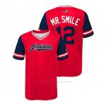 Camiseta Beisbol Nino Cleveland Indians Francisco Lindor 2018 Llws Players Weekend Mr. Smile Rojo