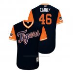 Camiseta Beisbol Hombre Detroit Tigers Jeimer Candelario 2018 Llws Players Weekend Candy Azul