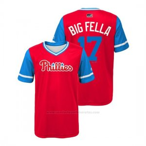 Camiseta Beisbol Nino Philadelphia Phillies Rhys Hoskins 2018 Llws Players Weekend Big Fella Scarlet