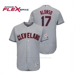 Camiseta Beisbol Hombre Cleveland Indians Yonder Alonso 2019 All Star Game Patch Flex Base Gris