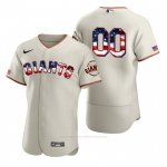 Camiseta Beisbol Hombre San Francisco Giants Personalizada Stars & Stripes 4th Of July Crema