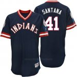 Camiseta Beisbol Hombre Cleveland Indians Carlos Santana Azul Turn Back The Clock