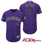 Camiseta Beisbol Hombre Colorado Rockies Nolan Arenado 28 Violeta 25th Season Flex Base