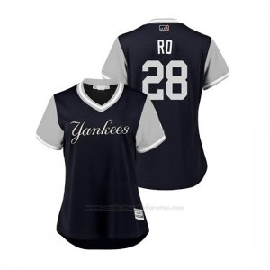 Camiseta Beisbol Mujer New York Yankees Austin Romine 2018 Llws Players Weekend Ro Azul