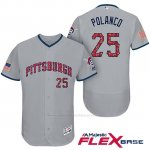 Camiseta Beisbol Hombre Pittsburgh Pirates 2017 Estrellas y Rayas Gregory Polanco Gris Flex Base