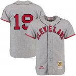 Camiseta Beisbol Hombre Cleveland Indians 19 Bob Feller Gris Turn Back The Clock