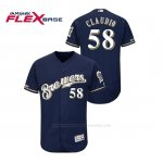 Camiseta Beisbol Hombre Milwaukee Brewers Alex Claudio 150th Aniversario Patch Autentico Flex Base Azul