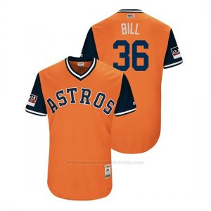 Camiseta Beisbol Hombre Houston Astros Will Harris 2018 Llws Players Weekend Bill Orange