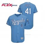 Camiseta Beisbol Hombre Kansas City Royals Danny Duffy 150th Aniversario Patch Flex Base Azul Luminoso