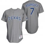Camiseta Beisbol Hombre Texas Rangers 7 Pudge Rodriguez Gris Turn Back The Clock