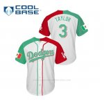 Camiseta Beisbol Hombre Los Angeles Dodgers Chris Taylor Mexican Heritage Night Cool Base Blanco