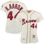 Camiseta Beisbol Hombre Atlanta Braves 44 Hank Aaron Crema Turn Back The Clock