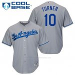 Camiseta Beisbol Hombre Los Angeles Dodgers Justin Turner 10 Gris Cool Base