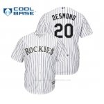 Camiseta Beisbol Hombre Colorado Rockies Ian Desmond Cool Base Official 1ª Blanco