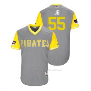 Camiseta Beisbol Hombre Pittsburgh Pirates Josh Bell 2018 Llws Players Weekend Jb Gris