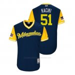 Camiseta Beisbol Hombre Milwaukee Brewers Freddy Peralta 2018 Llws Players Weekend Kaciki Azul