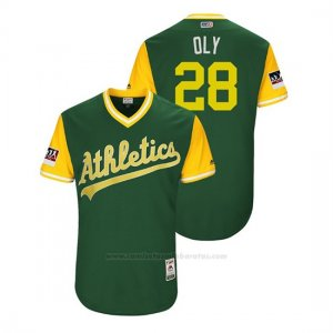 Camiseta Beisbol Hombre Oakland Athletics Matt Olson 2018 Llws Players Weekend Oly Green