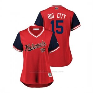 Camiseta Beisbol Mujer Washington Nationals Matt Adams 2018 Llws Players Weekend Big City Rojo