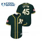 Camiseta Beisbol Hombre Oakland Athletics Jharel Cotton 2019 Entrenamiento de Primavera Cool Base Verde