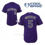 Camiseta Beisbol Hombre Colorado Rockies Carlos Gonzalez 5 Violeta Alterno Cool Base