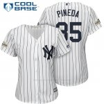 Camiseta Beisbol Mujer New York Yankees 2017 Postemporada Michael Pineda Blanco Cool Base