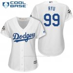 Camiseta Beisbol Mujer Los Angeles Dodgers 2017 World Series Hyun Jin Ryu Blanco Cool Base